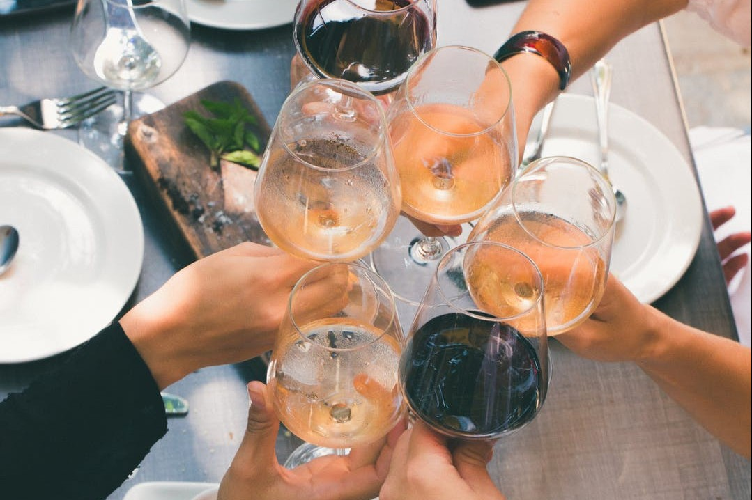 Group of people holding wine glasses together
